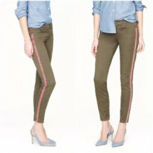 J. Crew toothpick embroidered stripe ankle jean